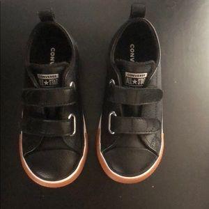 Boys black leather converse, size 9